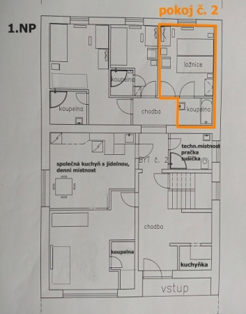 Pronájem dvoulůžkových pokojů pro studenty