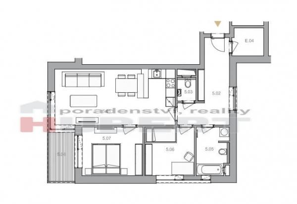 Prodej: novostavba bytu - 3+kk (73 m2) skeletový+cihla, v klidné části Zlín